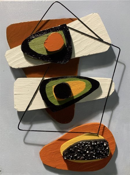 """""""Retro Avocados And Papayas"""" 12' x 16"""" cut plywood, wire, oils on canvas"""