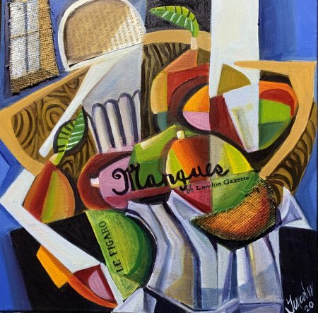 """""""Mangoes In A Wood Fruit Bowl"""" 16"""" x 16"""" oil and collage on canvas"""