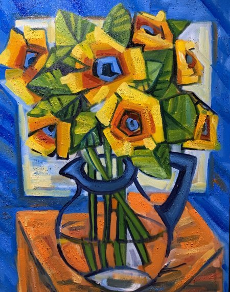 """""""Sunflowers In My Office"""" 16"""" x 20"""" oil on canvas"""