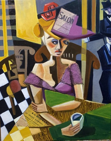"""Woman In A Bar"" 16"" x 20"" oil and collage on canvas board"