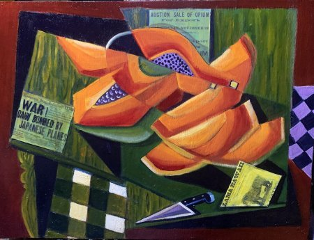 """""""Papayas""""(Lunch In Hilo) oil and collage on plywood 18? x 24?"""