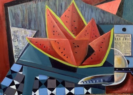 """""""Watermelon Slices""""(Picnic in Dallas) 18"""" x 24"""" oil and collage on plywood"""