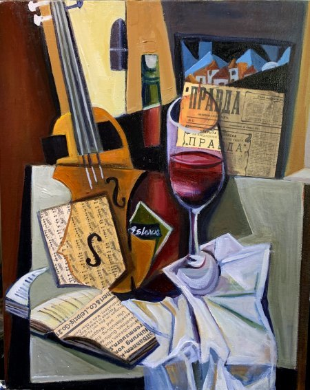 """""""Antique Violin And Red Wine"""" oil and collage on canvas 18"""" x 24"""""""