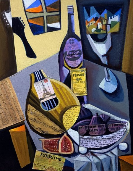 """Antique Mandolin And Figs"" 16"" x 20"" oil and collage on canvas"