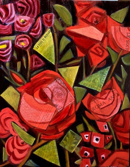"""Antique Roses"" 16"" x 20"" framed oil and collage on plywood"