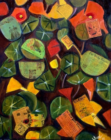 """""""Nasturtiums"""" 16"""" x 20"""" framed oil and collage on wood"""