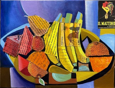 """The Wooden Fruit Bowl"" 14"" x 18"" oil and collage"