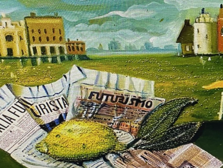 """""""A Lemon In Venice"""" 11"""" x 14"""" oil and collage on canvas"""