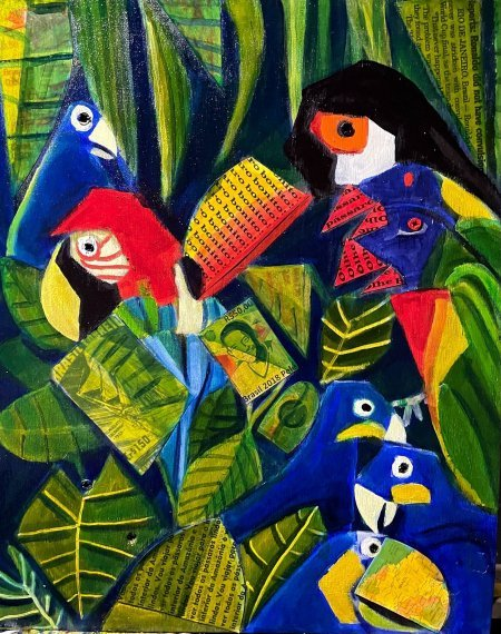 """Aviary Brazil"" 16"" x 20"" oil and collage on wood"