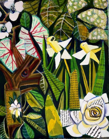 """The Southern White Garden"" 16"" x 20"" oil and collage on canvas"